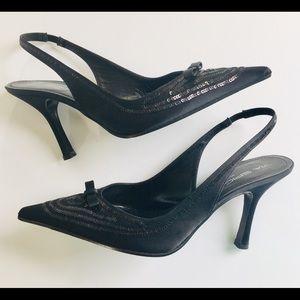 Via Spiga Black Dress Party Formal LBD Heels 8 M